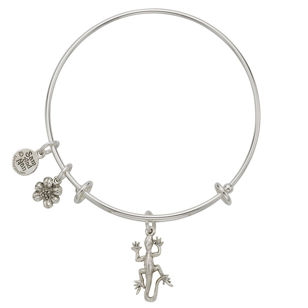 Lizard Flower Charm Bangle Bracelet - SamandNan