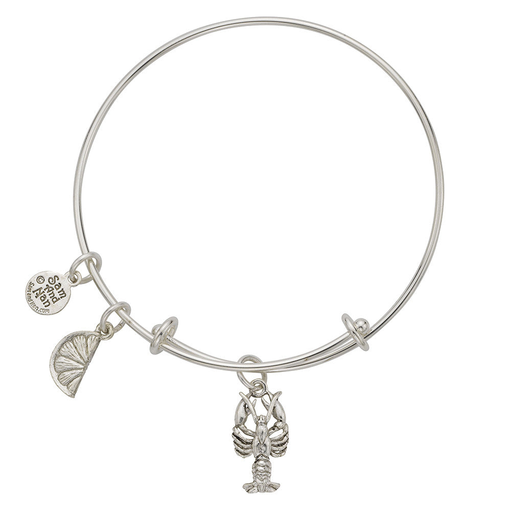 Lobster Lemon Charm Bangle Bracelet - SamandNan