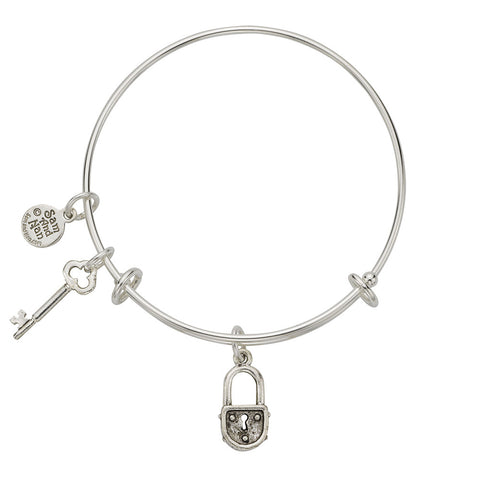 Lock - Key Charm Bangle Bracelet - SamandNan