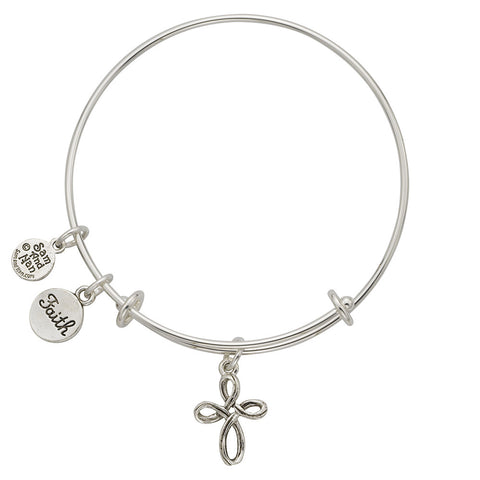 Loop Cross Faith Charm Bangle Bracelet - SamandNan
