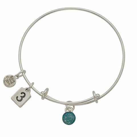 March Turquoise Birthstone Charms Bangle Bracelet - SamandNan