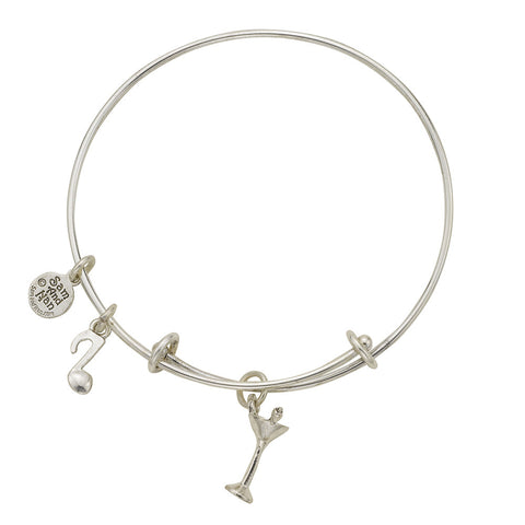 Martini Glass Charm Bangle Bracelet - SamandNan - 1