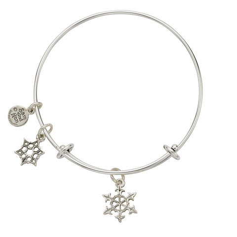 Medium Snowflake Charm Bangle Bracelet - SamandNan