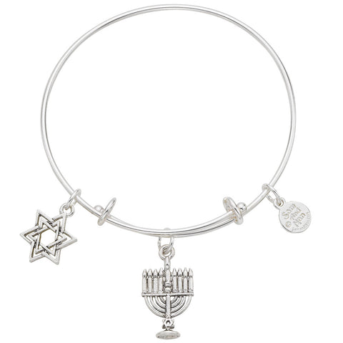 Judaica Menorah and Jewish Star Bangle Bracelet - SamandNan