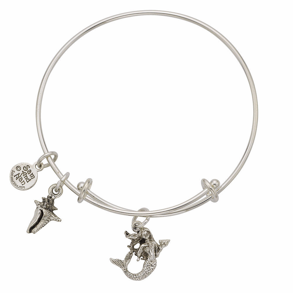 Mermaid Conch Shell Charm Bangle Bracelet - SamandNan