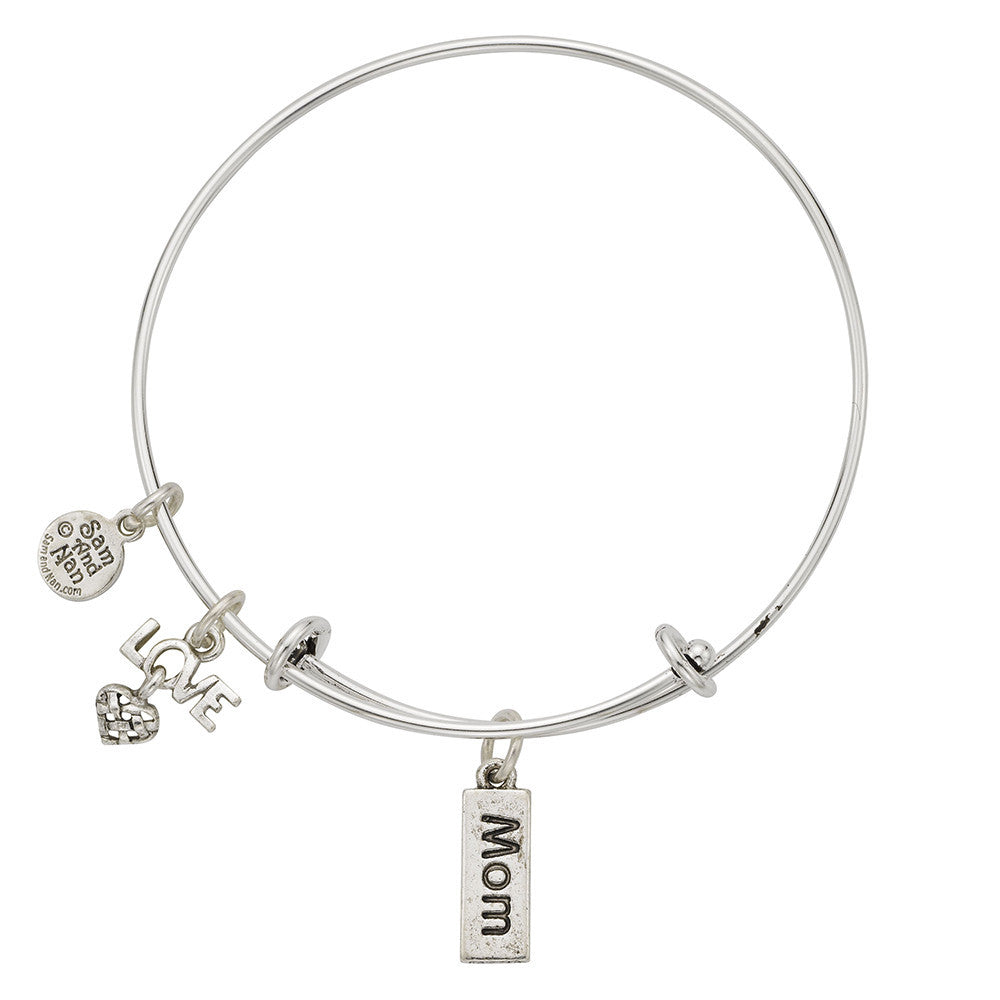 Mom/Mommy Love Charm Bangle Bracelet - SamandNan