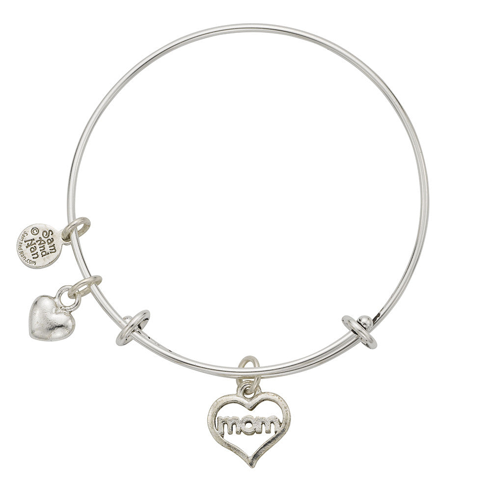 Mom Heart Saying Charm Bangle Bracelet - SamandNan