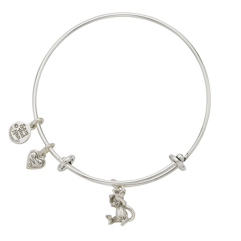 Mouse Heart Charm Bangle Bracelet - SamandNan