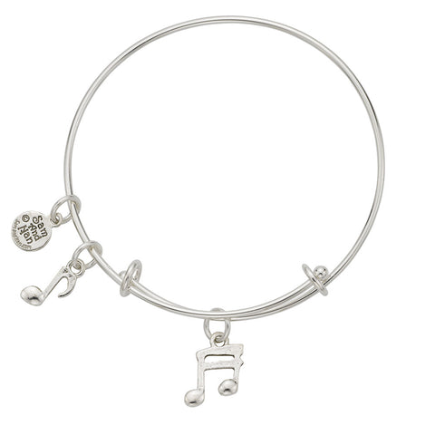 Music Notes Charm Bangle Bracelet - SamandNan