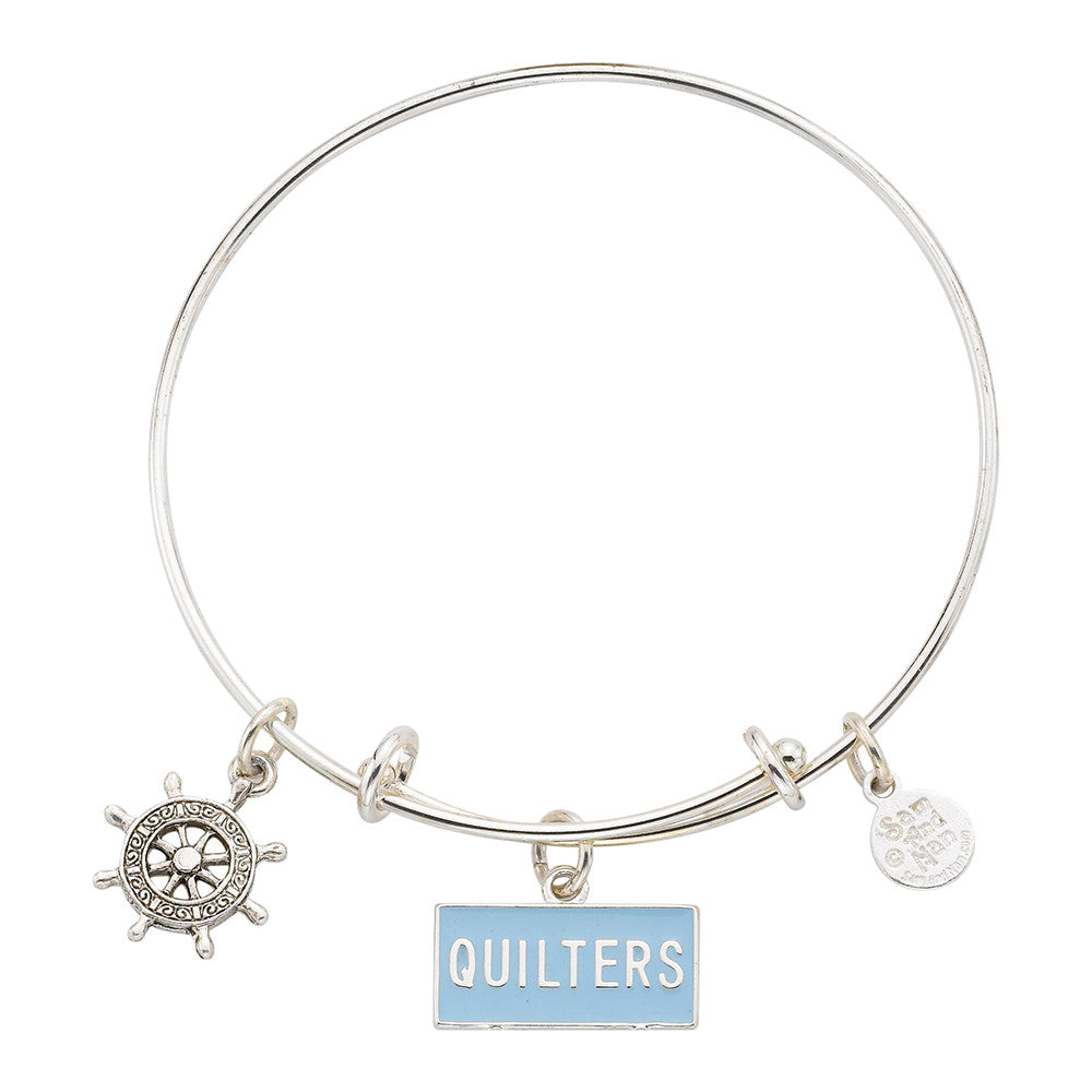 Nautical Quilters Ships Wheel Charm Bangle Bracelet - SamandNan