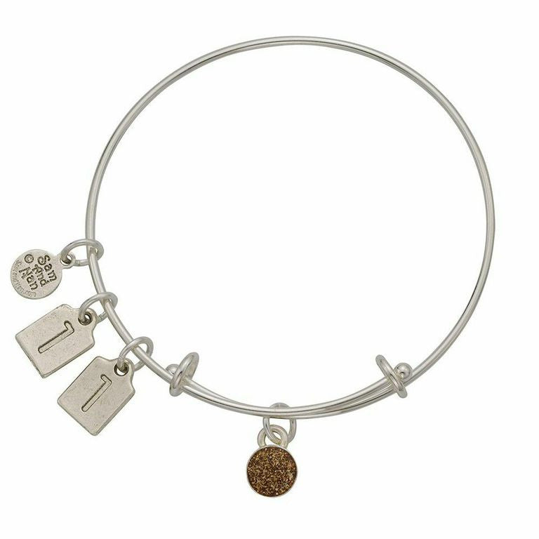 November Gold Birthstone Charms Bangle Bracelet - SamandNan