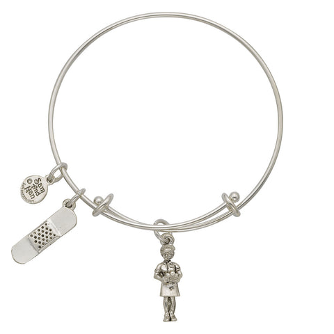 Nurse Bandaid Charm Bangle Bracelet - SamandNan