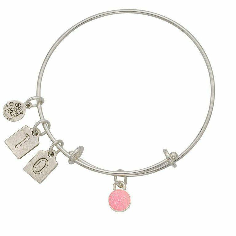 October Pink Birthstone Charms Bangle Bracelet - SamandNan