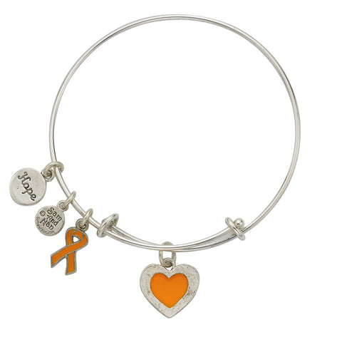 Leukemia Orange Cancer Bangle Bracelet - SamandNan