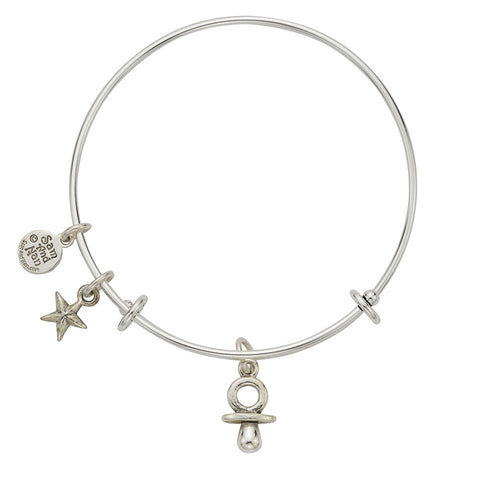 Pacifier Puff Star Charm Bangle Bracelet - SamandNan