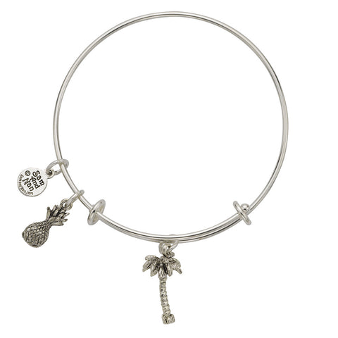Palm Tree Pineapple Charm Bangle Bracelet - SamandNan