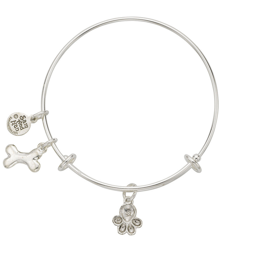 Paw Bone Charm Bangle Bracelet - SamandNan