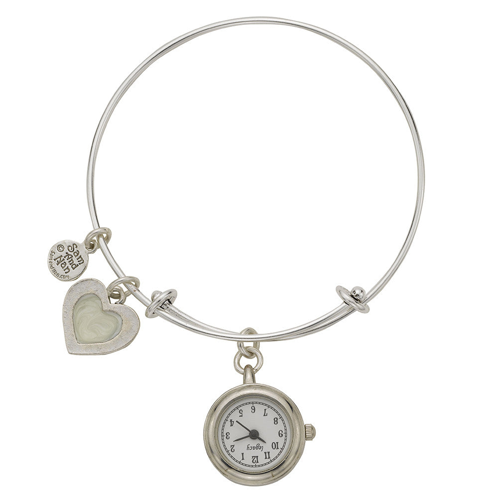 Pearl Heart Pendant Watch Silver Bangle Bracelet - SamandNan