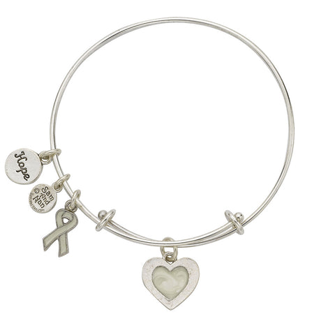Lung Cancer White Bangle Bracelet - SamandNan