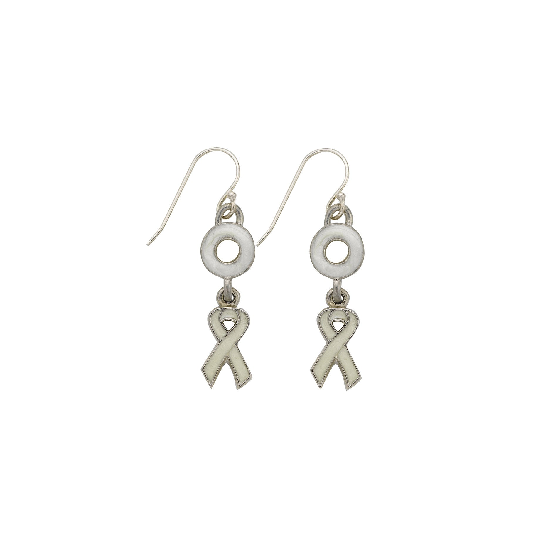 Lung Cancer Earrings White - SamandNan