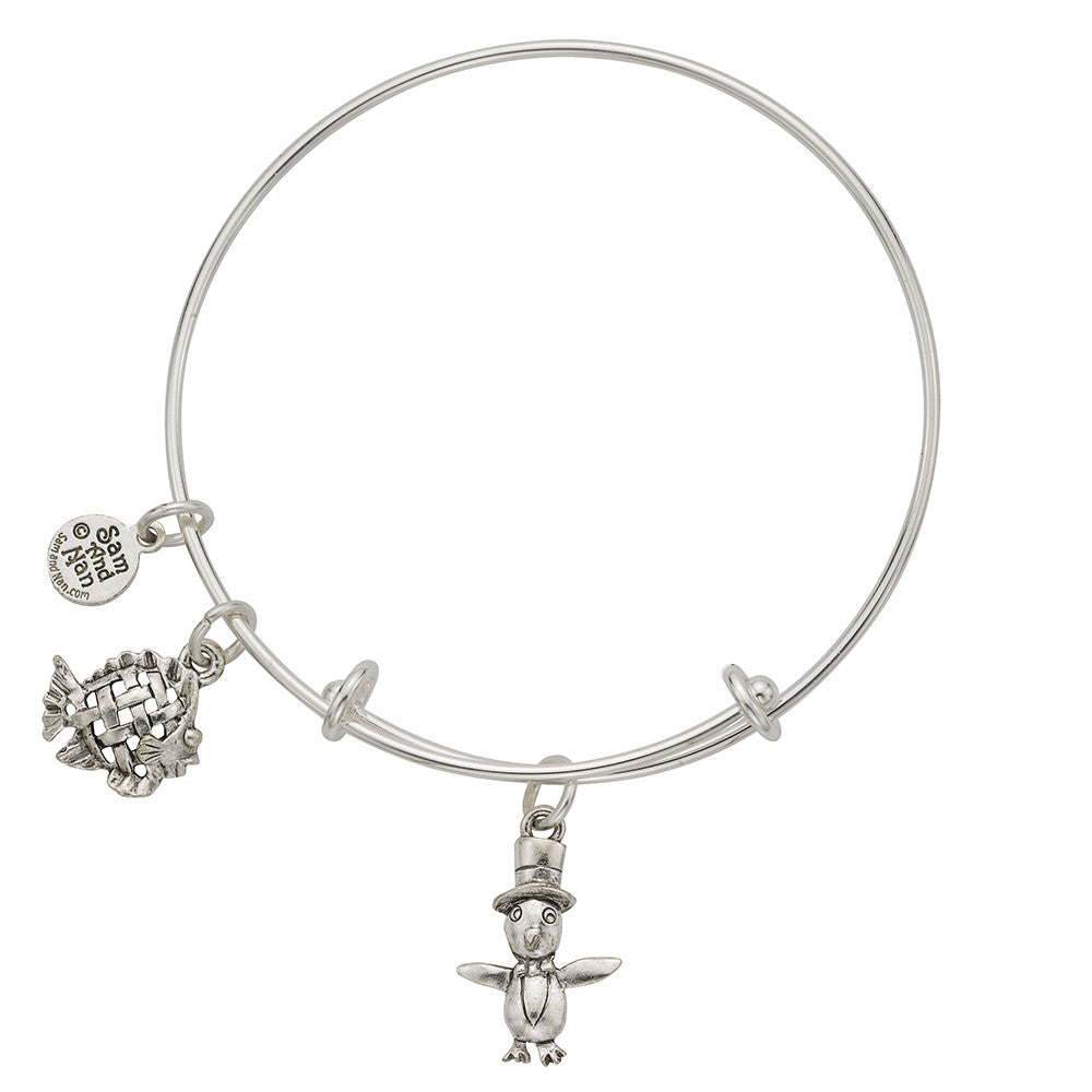 Penguin Woven Fish Charm Bangle Bracelet - SamandNan