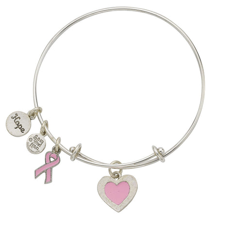 Breast Cancer Pink Bangle Bracelet - SamandNan