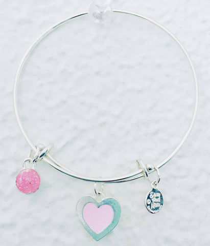 Valentine Pink Heart Bangle Bracelet