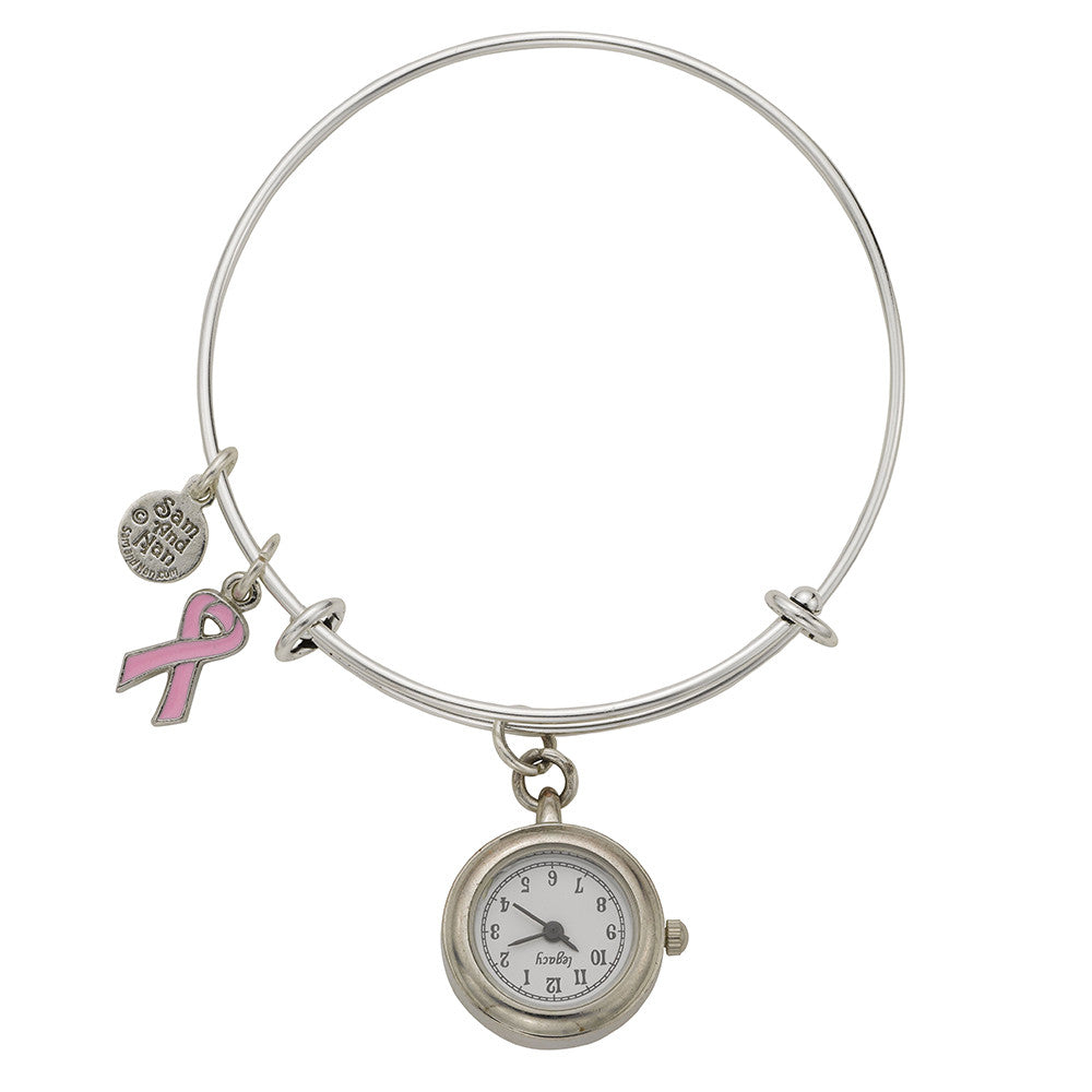 Pink Ribbon Pendant Watch Silver Bangle Bracelet - SamandNan