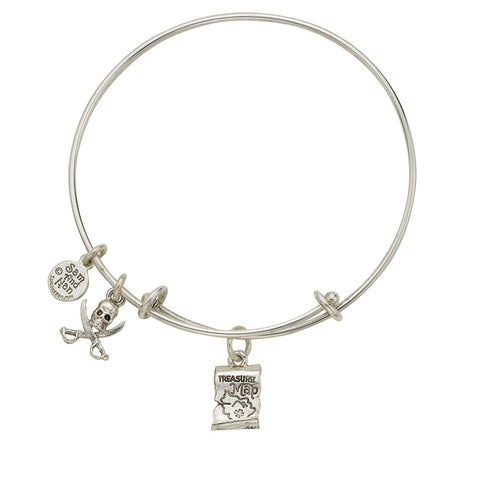 Treasure Map Skull Cross Bones Charm Bangle Bracelet - SamandNan - 1