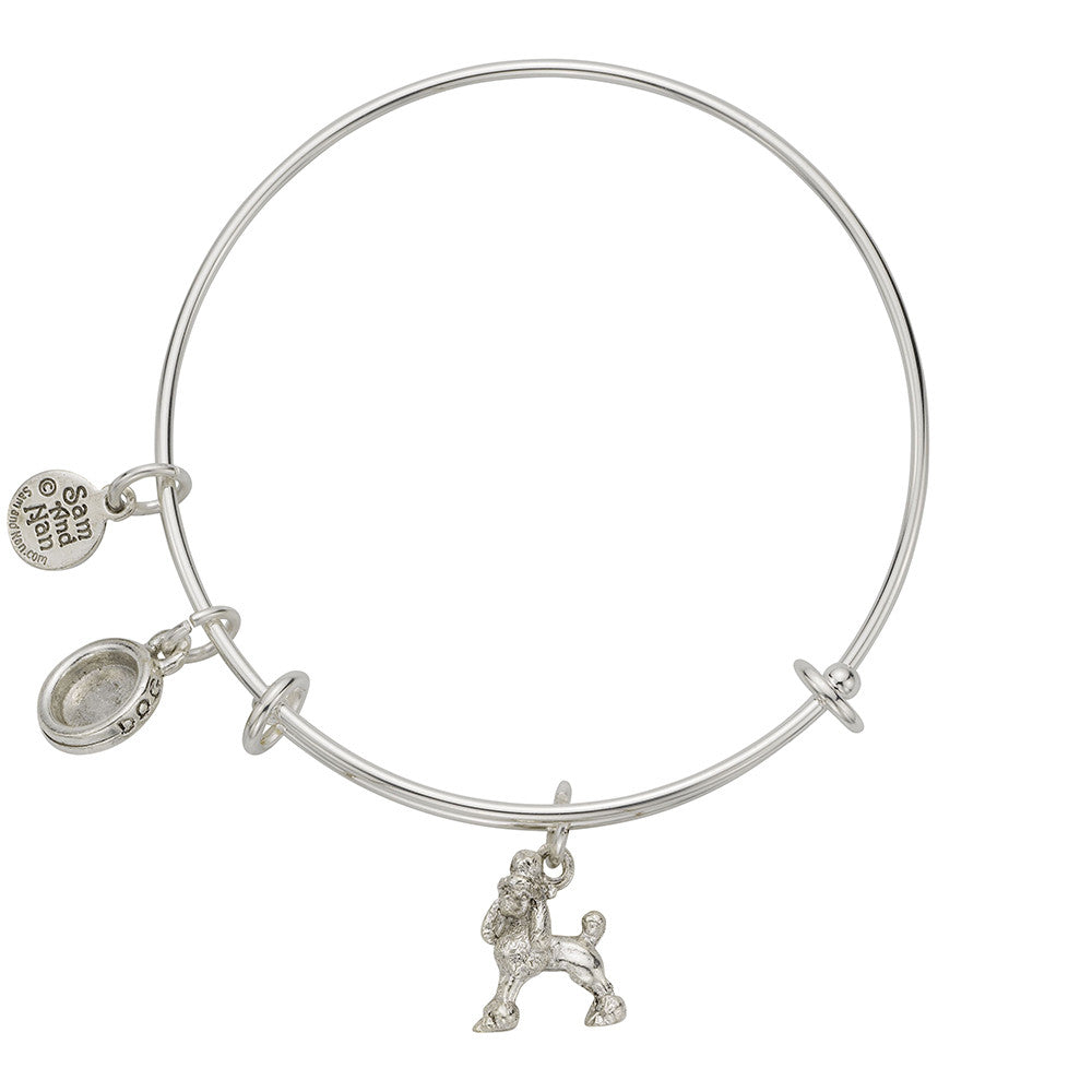 Poodle Dog Bowl Charm Bangle Bracelet - SamandNan