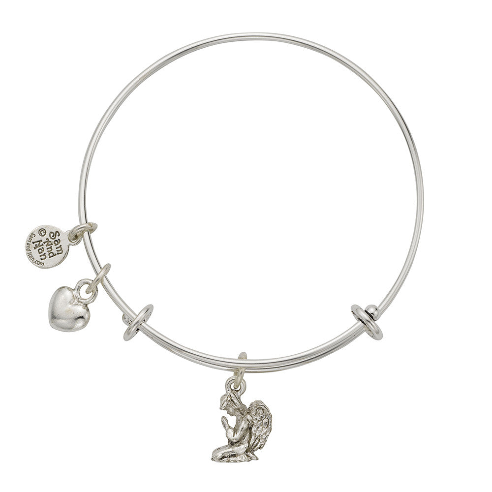 Praying Angel Charm Bangle Bracelet - SamandNan