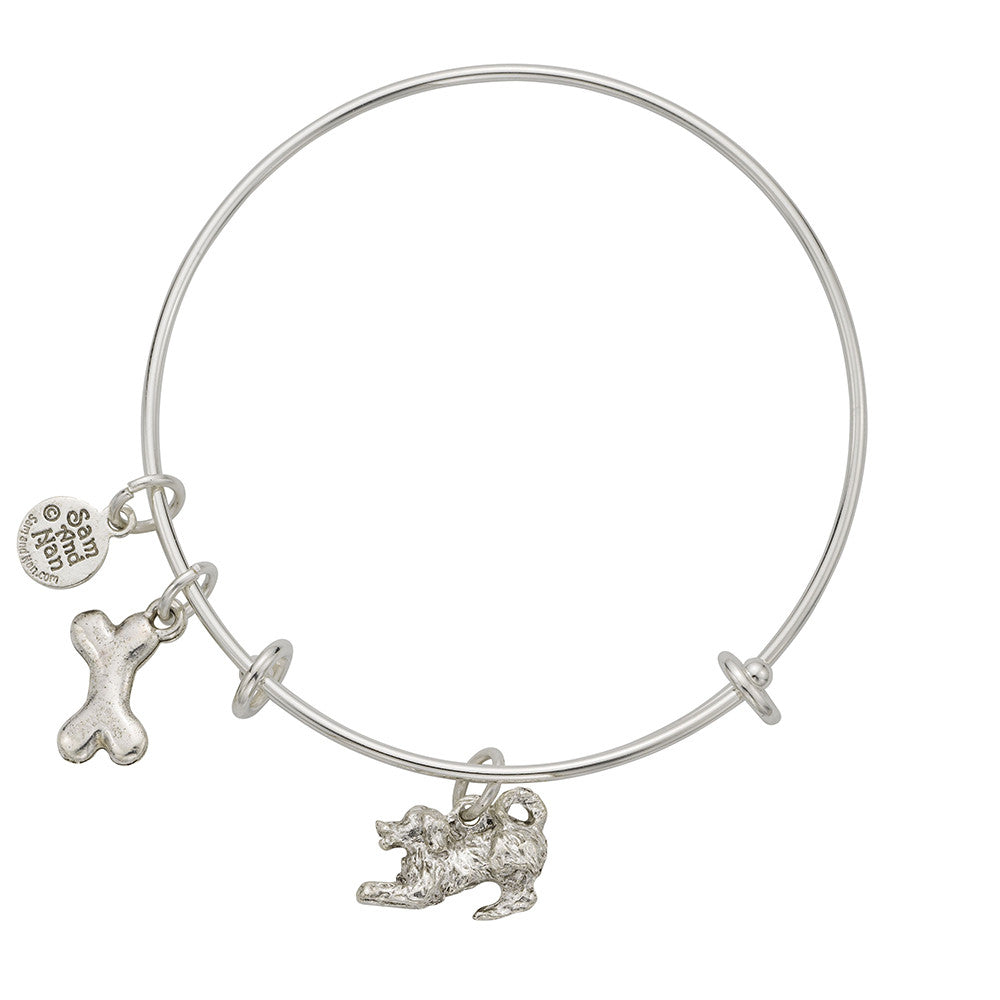 Puppy Dog Bone Charm Bangle Bracelet - SamandNan