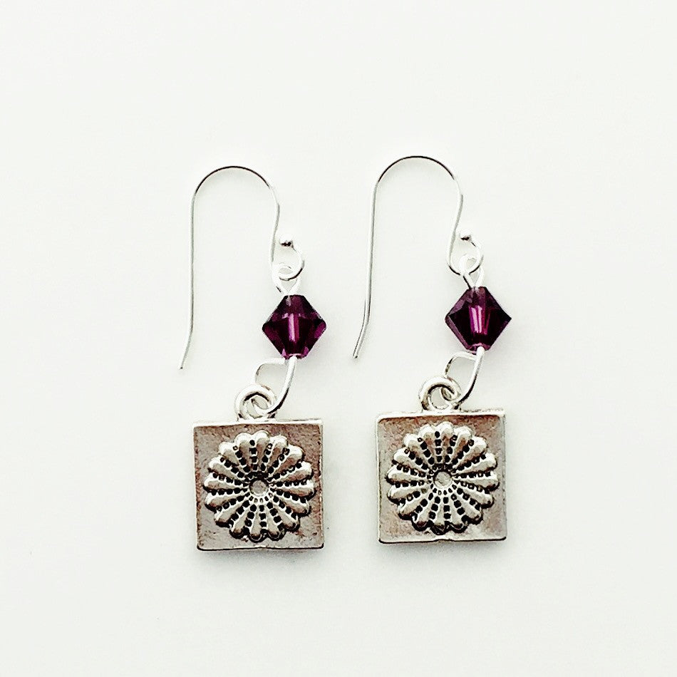 Dresden Quilt Patch Silver Earrings with Purple Swarovski Crystals.