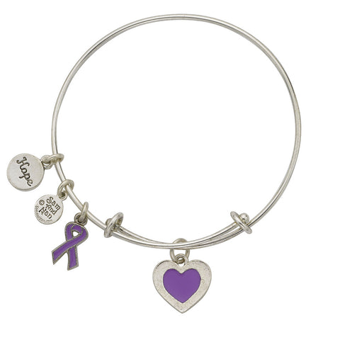 Pancreatic Cancer Bangle Bracelet Purple - SamandNan