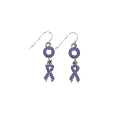 Pancreatic Cancer Earrings Purple - SamandNan