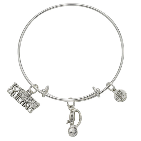Quilt Cutter I Love to Quilt Charm Bangle Bracelet - SamandNan