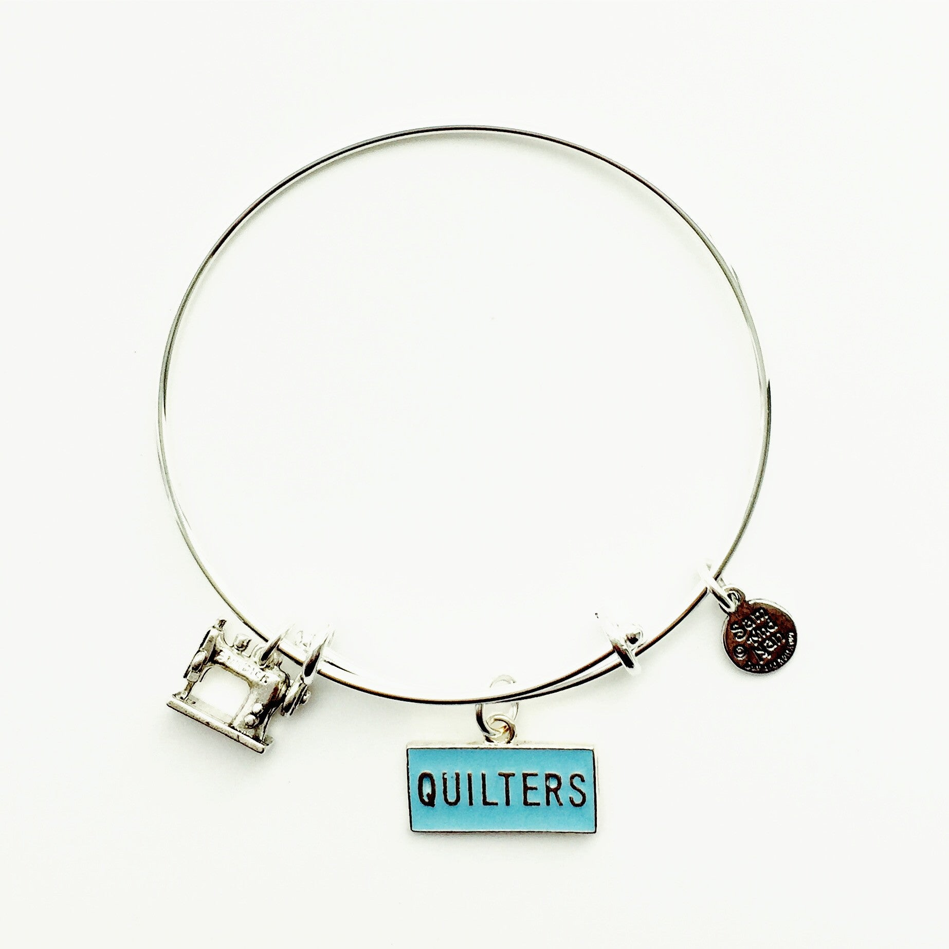 Quilters Sewing Machine Silver Bangle Bracelet