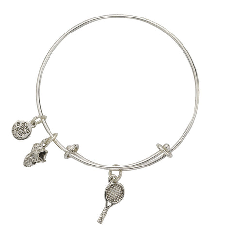 Tennis Racket Sneaker Charm Bangle Bracelet - SamandNan - 1