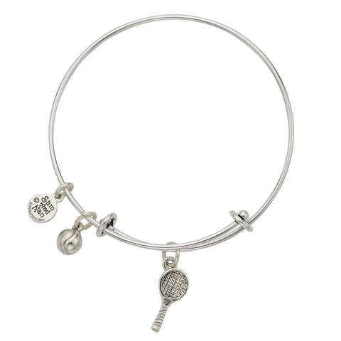 Raquet and Ball Charm Bangle Bracelet - SamandNan