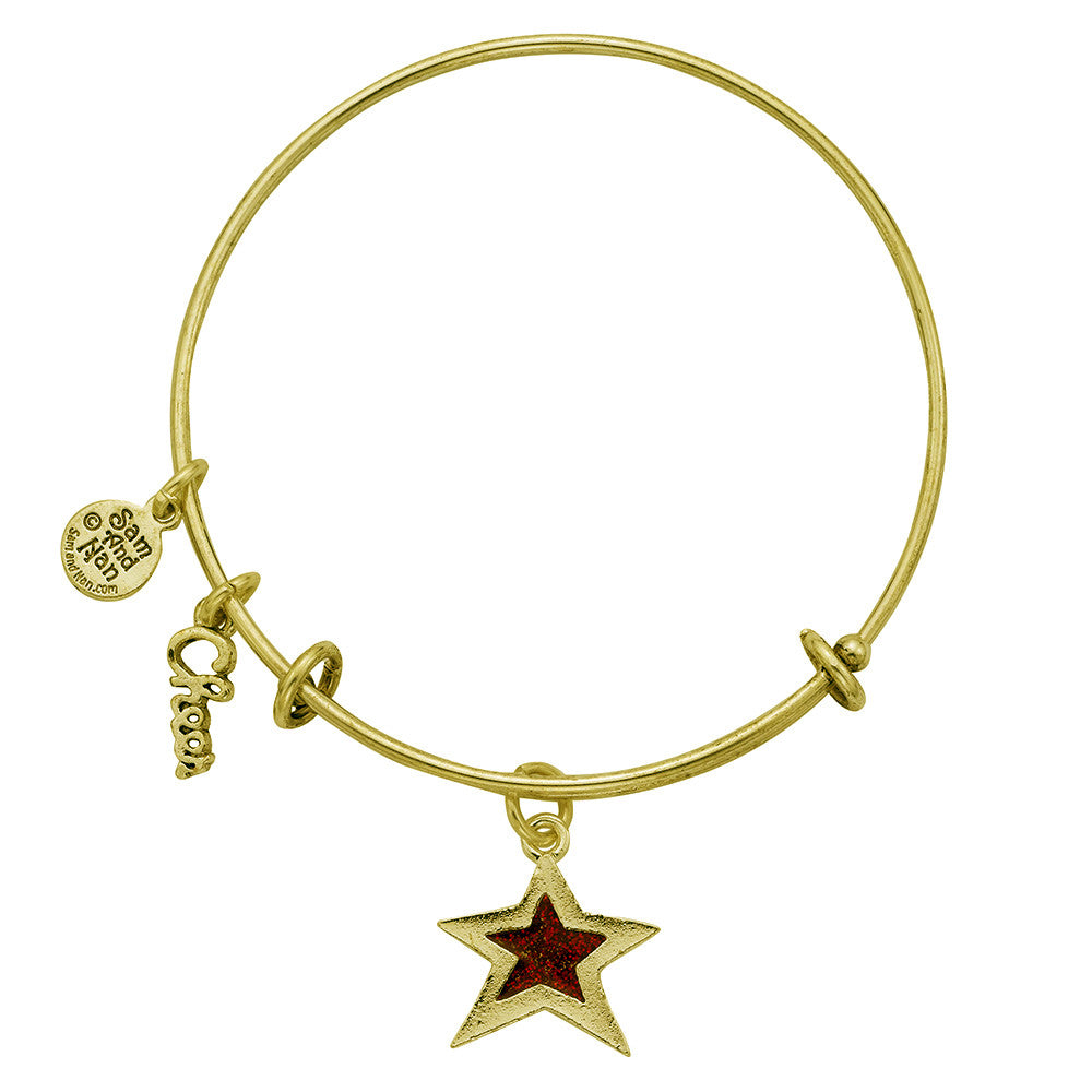 Red Star Charm Bangle Bracelet - SamandNan - 2