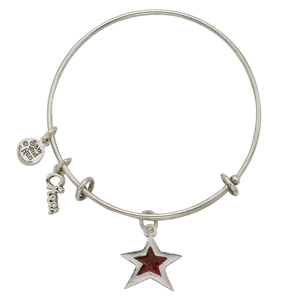 Red Star Charm Bangle Bracelet - SamandNan - 1