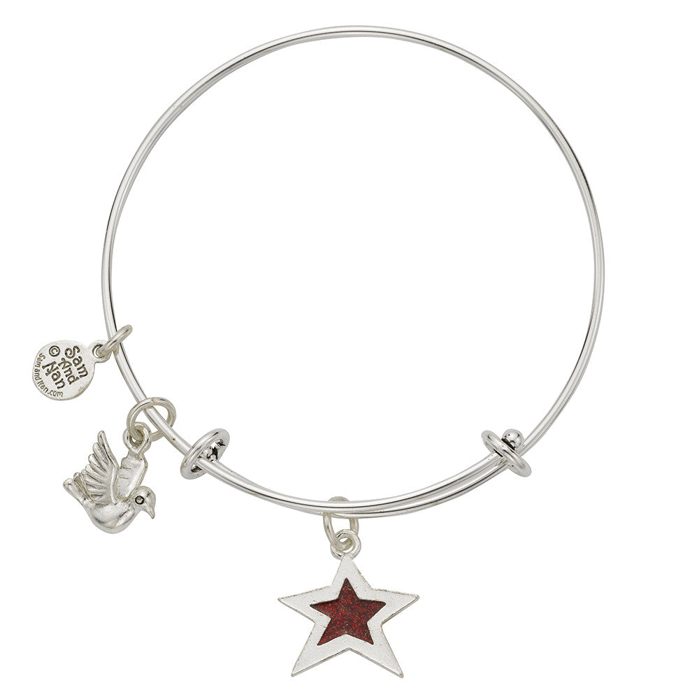 Lt Blue Star Dove Bangle Bracelet - SamandNan