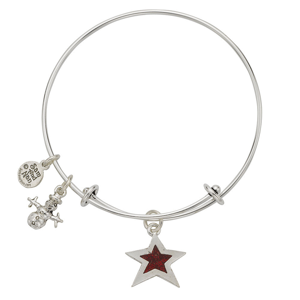 Snowman Star Charm Bangle Bracelet - SamandNan