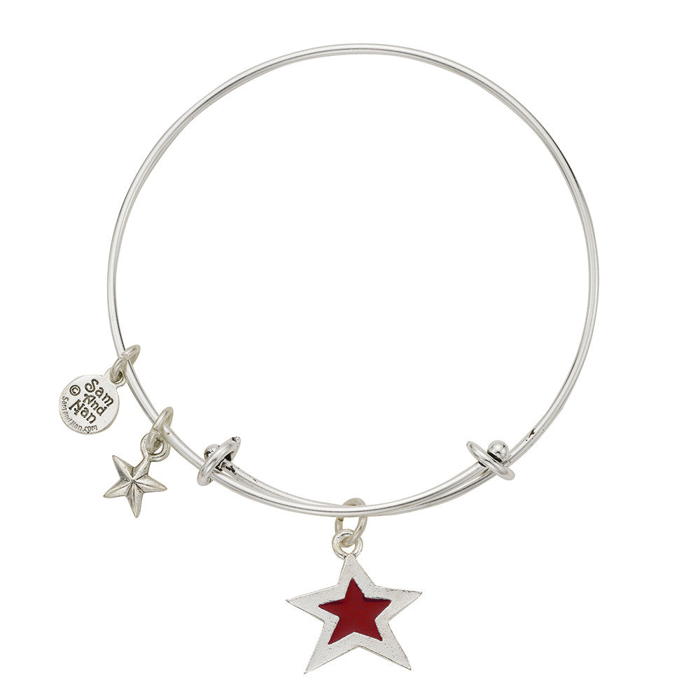 Red Star Puff Star Bangle Bracelet - SamandNan