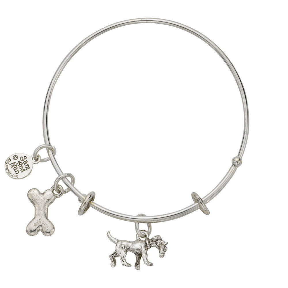 Retriever Dog Bone Charm Bangle Bracelet - SamandNan