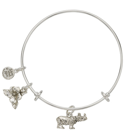 Rhinocerous Charm Bangle Bracelet - SamandNan