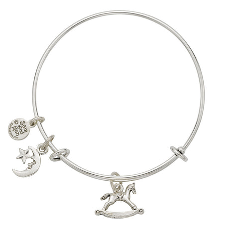 Rocking Horse Star and Moon Charm Bangle Bracelet - SamandNan
