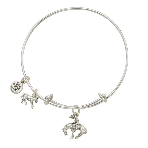 Rodeo Cowboy Charm Bangle Bracelet - SamandNan