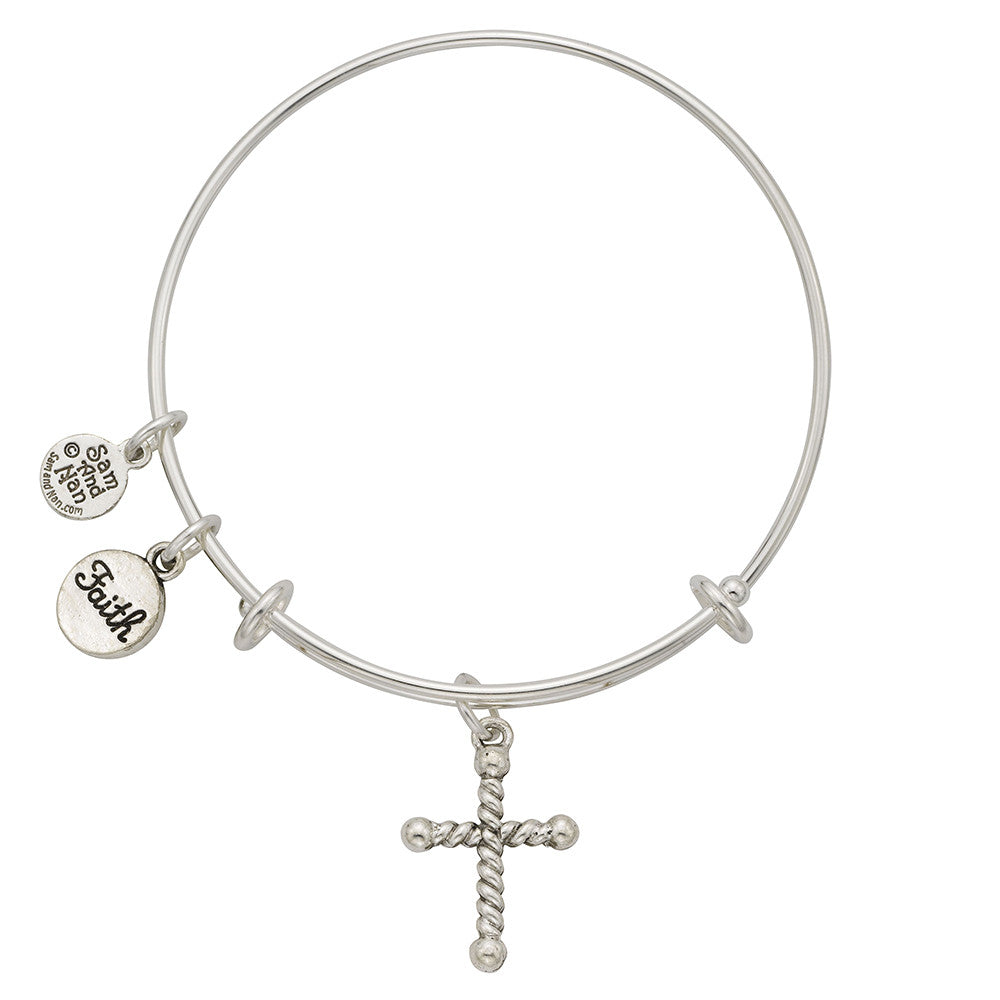 Rope Cross, Faith Charm Bangle Bracelet - SamandNan