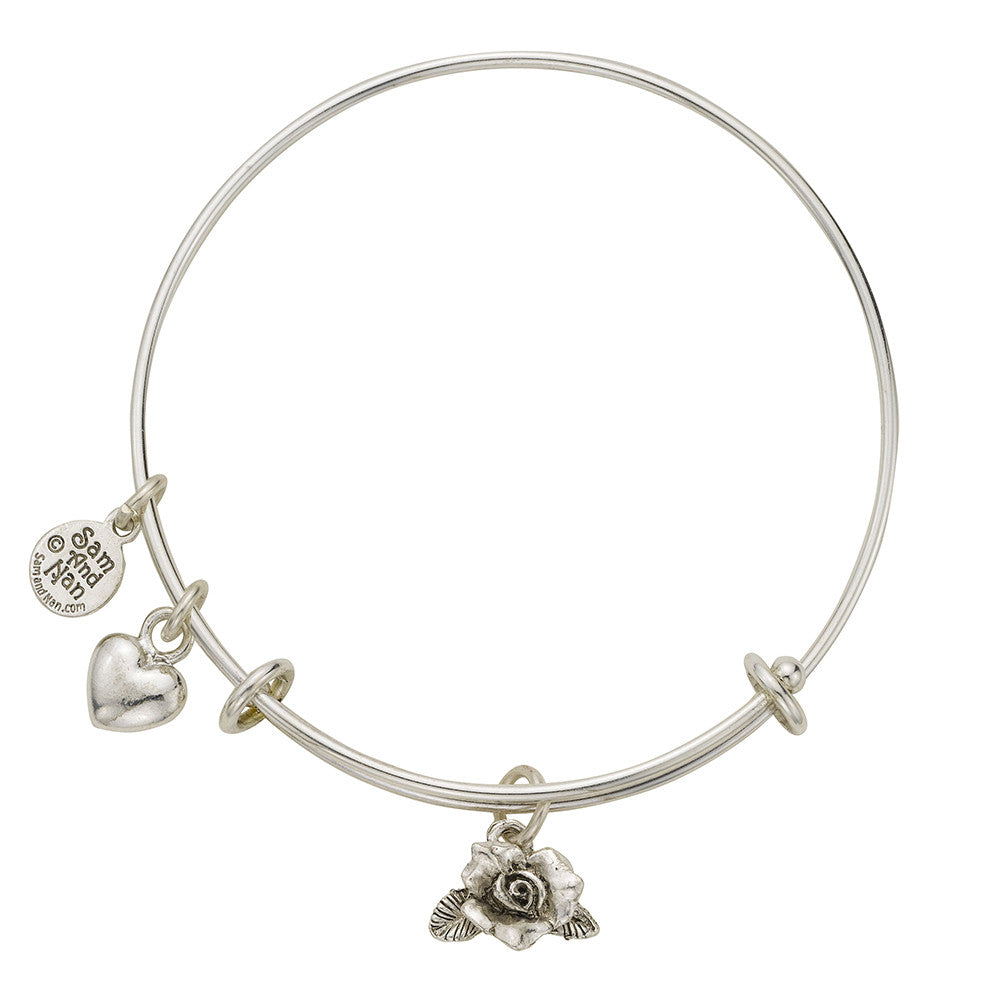 Rose Charm Bangle Bracelet - SamandNan - 1